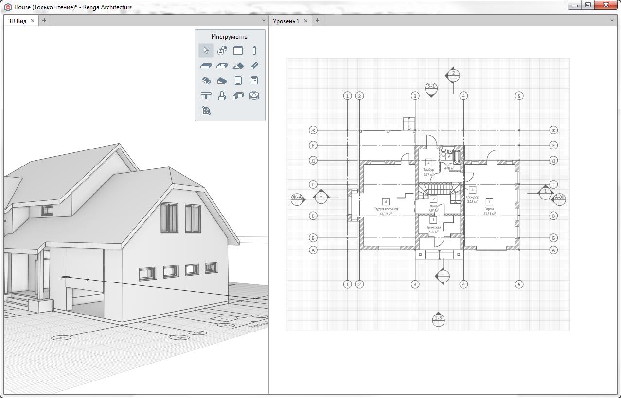 Отображение плана уровня в Renga с учетом смещения плоскости сечения
