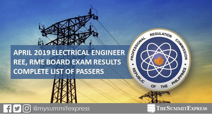 FULL RESULTS: April 2019 Electrical Engineer REE, RME board exam list of passers
