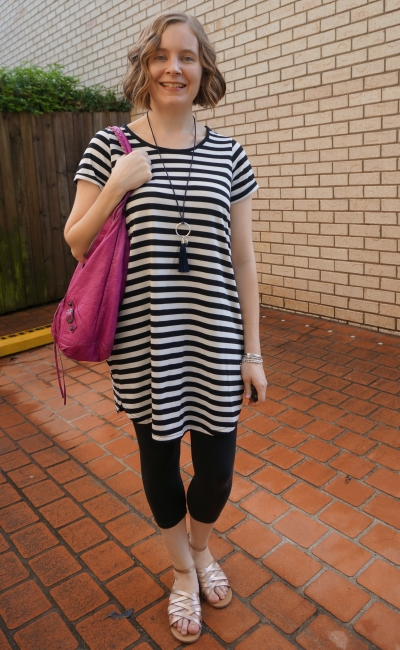 Cotton On 'Tina' white striped tee dress  in autumn with leggings pink magenta balenciaga day bag | away from blue
