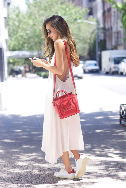 Long Dress and Sneakers Street Style
