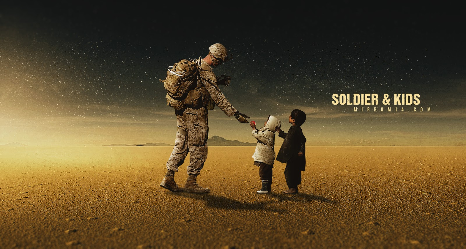 Advanced Photo Manipulation Techniques - Soldier and Kids