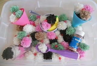ice cream sensory bin, ice cream sensory play, Pompom sensory bin, pompom sensory play