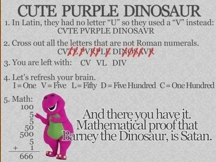 Funny Barney Dinosaur Joke Satan Image