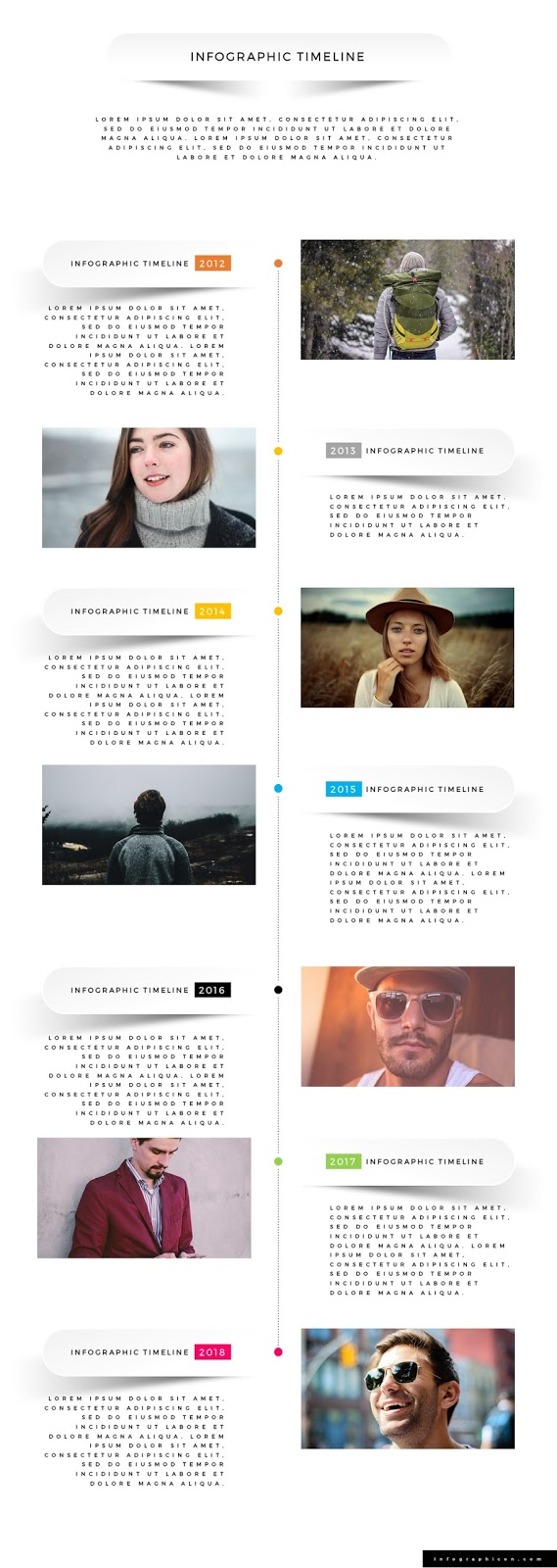 Large Size Vertical Timeline PowerPoint Template