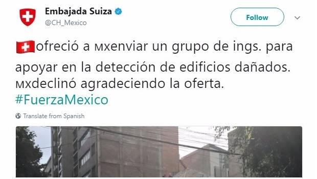 México rechazó ayuda de Suiza por sismo ¿Que opinas?