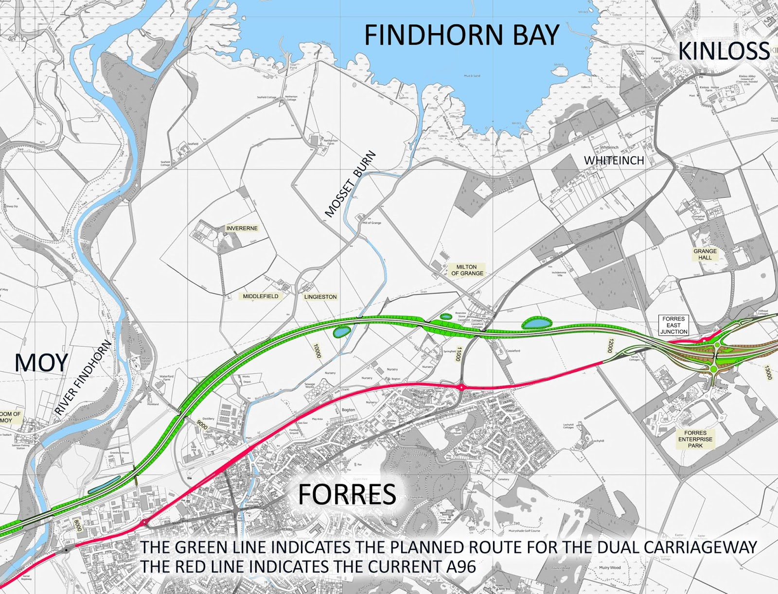 Findhorn Scotland Map.Forres A96 Dualling Latest News Maps Of The Route