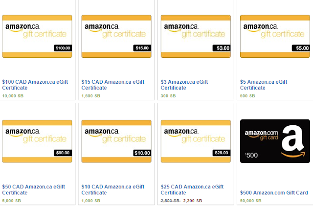 Amazon gift cards from Swagbucks