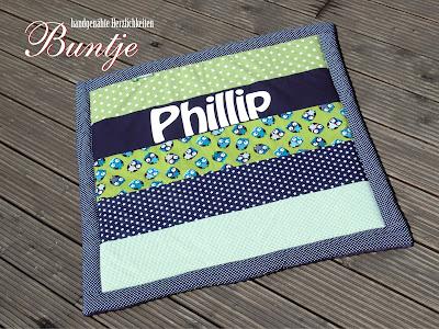 Krabbeldecke Kuscheldecke Decke Name Baby Geschenk Geburt Taufe personalisiert Pate Junge Phillip blau grün Eulen Sterne Baumwolle Fleece handmade nähen Buntje