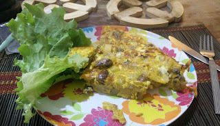 Home grown lettuce with Spud Omelette