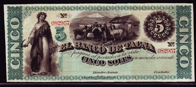 Peru 5 Soles Bank Tacna