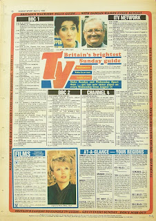 Sunday Sport Back page showing TV guide from 3rd April 1988