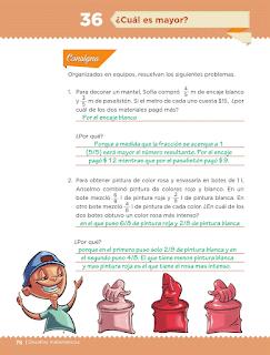 Respuestas Apoyo Primaria Desafíos Matemáticos 5to. Grado Bloque III Lección 36 ¿Cuál es mayor?