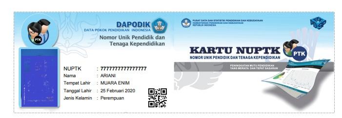 gambar kartu NUPTK 2020