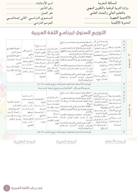 التوزيع السنوي لبرنامج اللغة العربية وفق مرجع في رحاب اللغة العربية للمستوى الثاني - شتنبر 2018