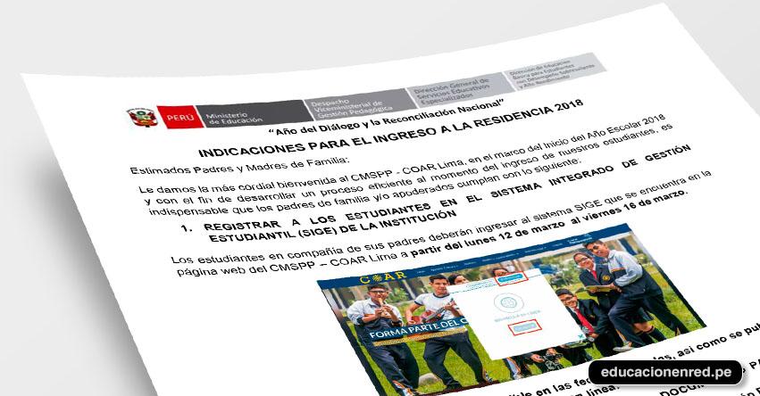 COAR 2018: Minedu Publicó Relación de Documentos a presentar el primer día de clases a Colegios de Alto Rendimiento [INGRESANTES LIMA] www.minedu.gob.pe