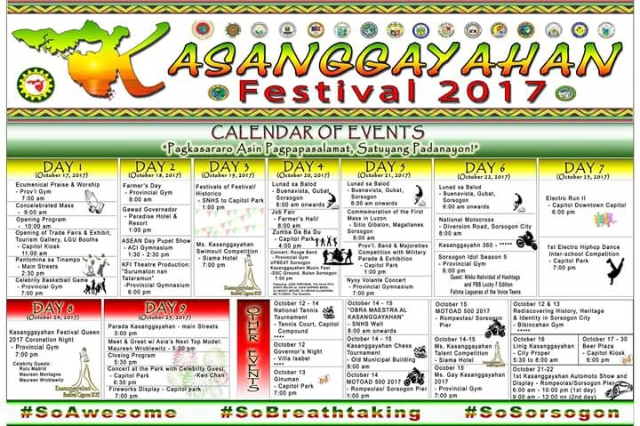 Kasanggayahan festival 2017 official list of schedule sorsogon city