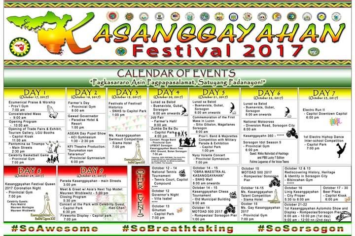 Kasanggayahan festival 2017 official list of schedule sorsogon city