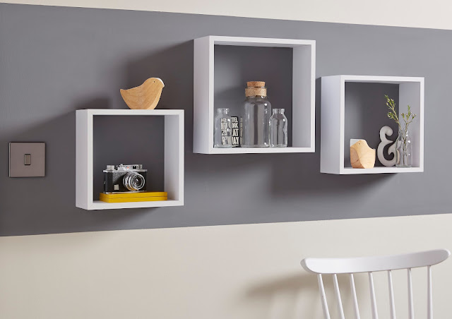 square shelves on wall