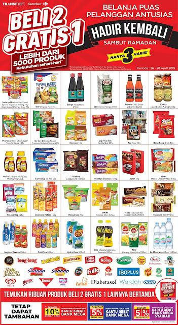 #Transmart #Carrefour - #Promo Belanja Puas Beli 2 Gratis 1 Sambut Ramadhan (s.d 28 April 2019)