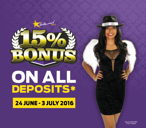 Hollywoodbets-Durban-July-15-Percent-Bonus-Promotion-With-Image-Of-Hollywoodbest-Model-And-Bonus-Promotion-Text