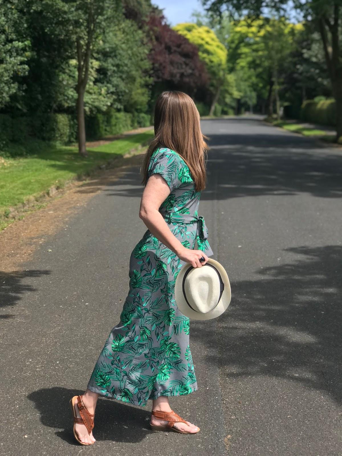 green palm leaf wide leg jumpsuit with belt \ capped sleeves \ three quarter leg