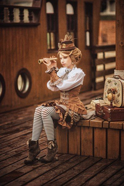 Women's Steampunk fashion inspiration. This costume consists of hat, blouse, skirt, stockings and boots.