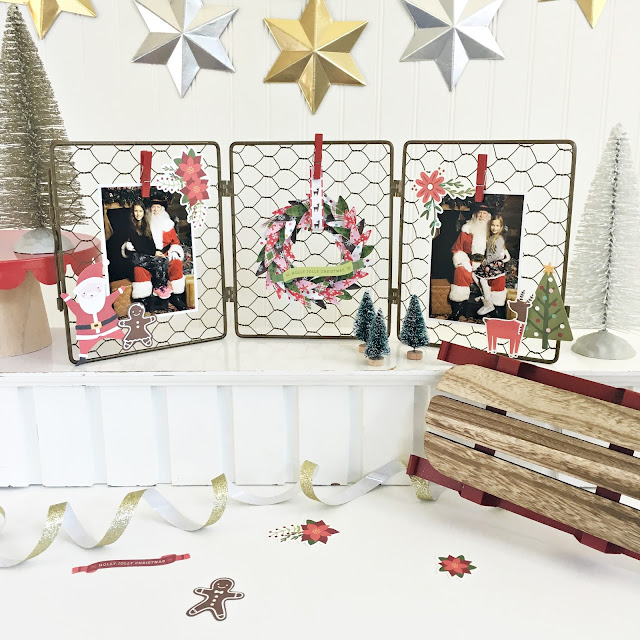DIY Christmas Decor made by @HeatherLeopard using the #HollyJolly collection from @PebblesInc