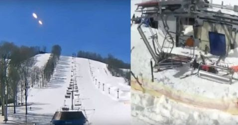 People Pointing to The Sky as Alien Ships appear above Ski Resort  Ski Lift Goes Out Of Control
