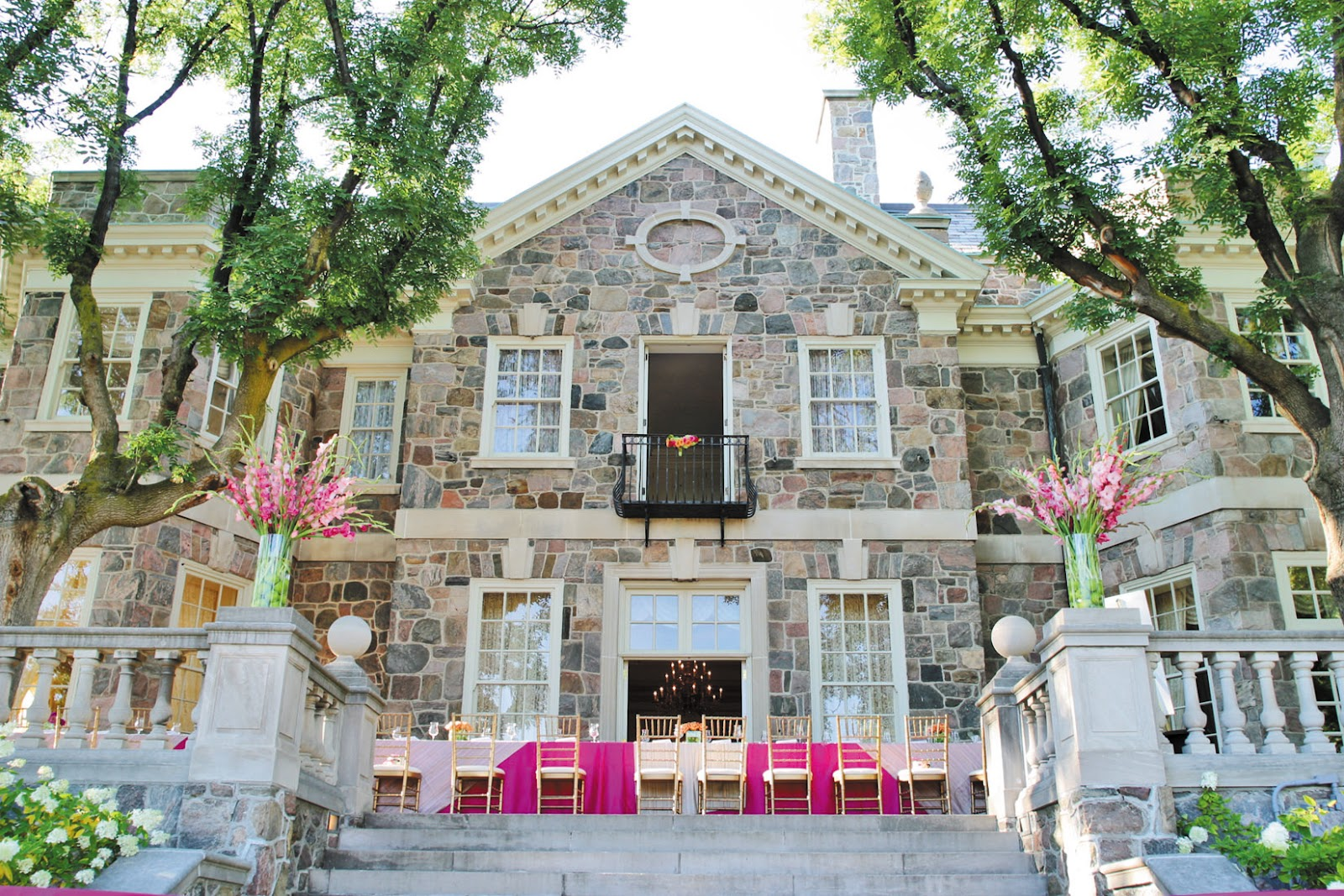 The Wedding Feast Was Held Outside On Stone Patio Under Stars At Graydon Hall