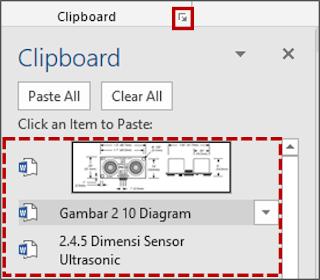 Klik tab Home, di grup Clipboard, klik Peluncuran dialog box Clipboard, pilih Text mana yang akan di Paste