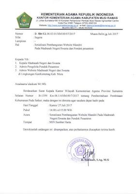 Sosialisasi Pembangunan website Madrasah Negeri / Swasta