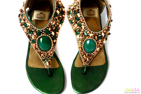 Sea Green Stone Open Toe Flat Shoes