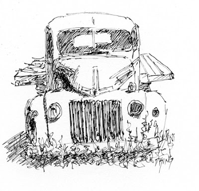 art sketch pen ink truck flatbed Ford abandoned