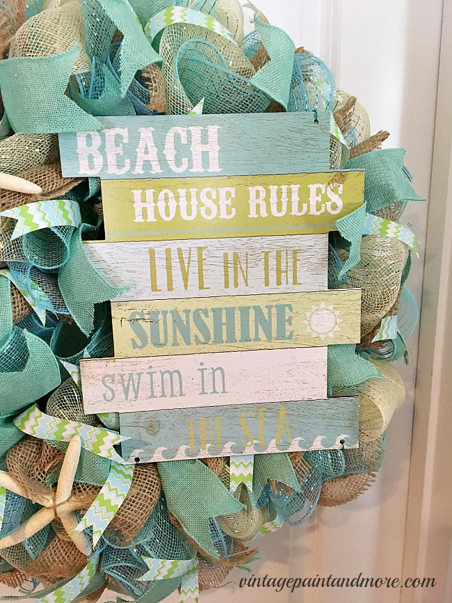 Vintage Paint and more... a beach themed deco mesh wreath with a beach house rules sign