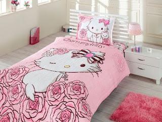 Hello Kitty Rose Charmmy Tek Kişilik Dört Mevsim Nevresim Takımı