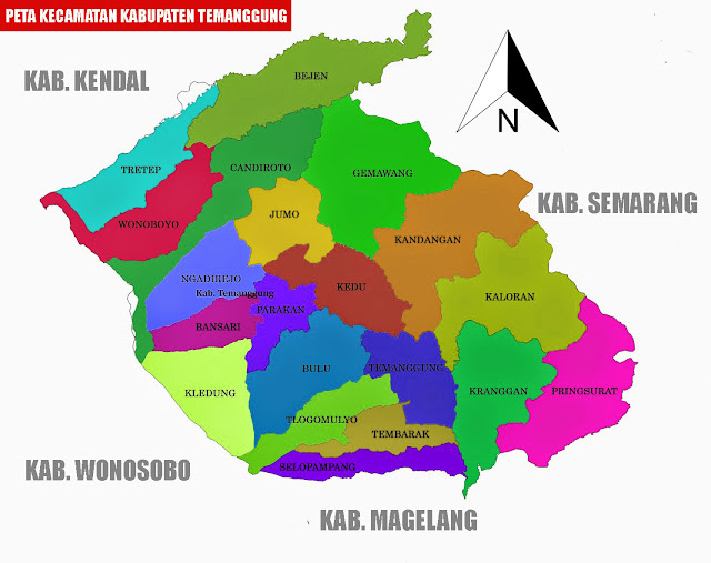 Gambar Peta Kecamatan Kabupaten Temanggung