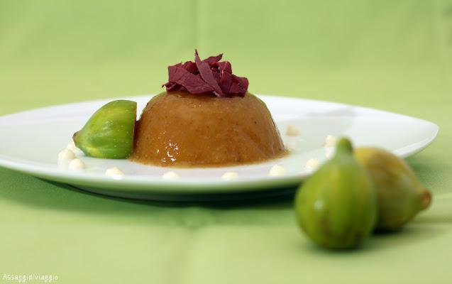 Fichi con lonzino e salsa di pere e parmigiano