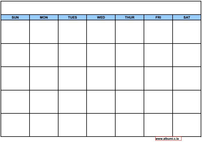Monthly Calendar Grid Template : Blank calendar grid collection to print