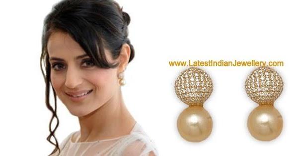 Beautiful Diamond Pearl Earrings wore by Ameesha Patel at ...