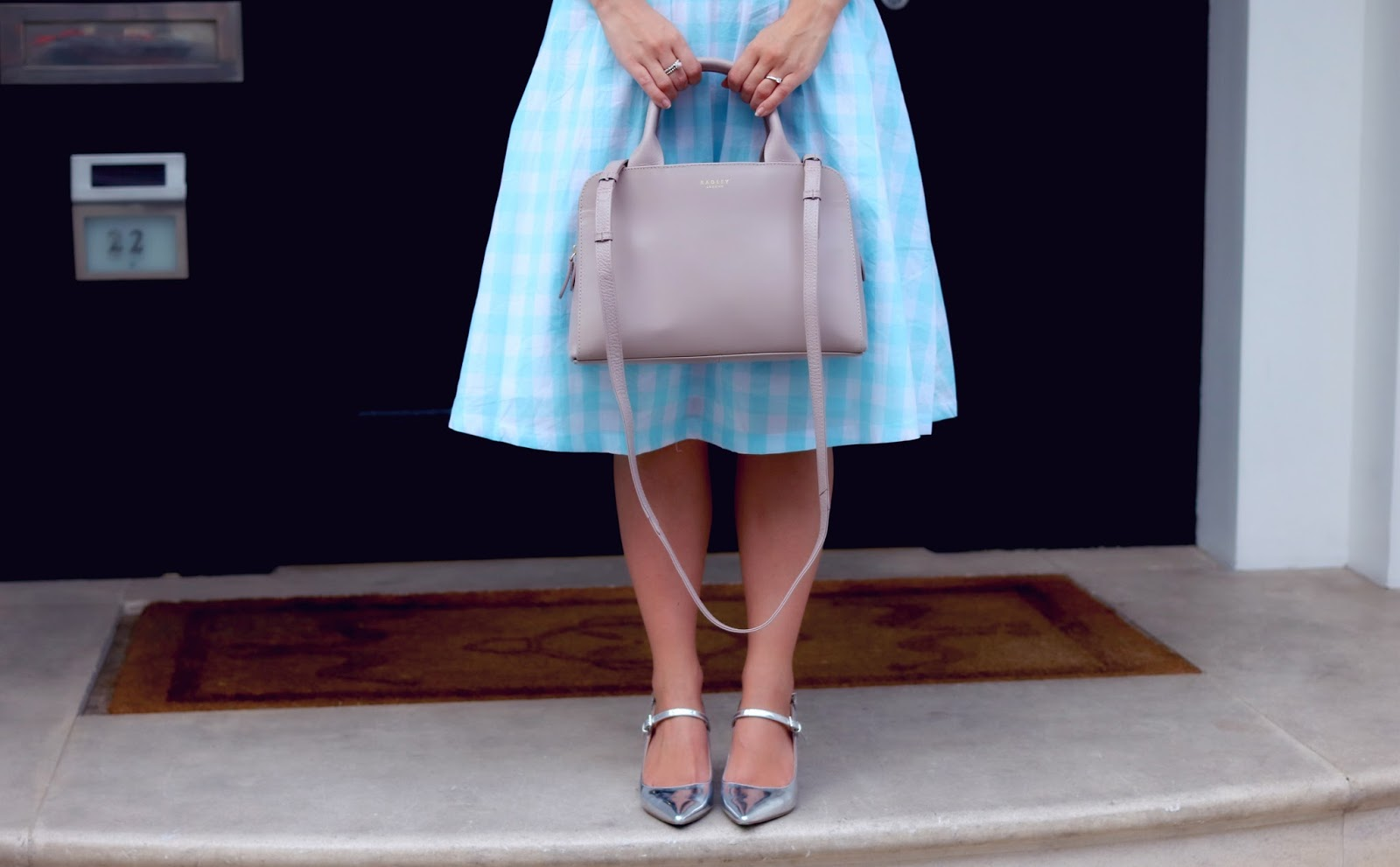 Blue Gingham Lindy Bop Dress and Millbank Radley Bag