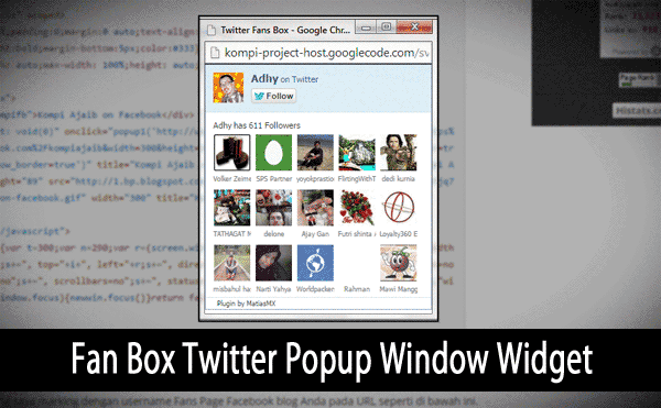 Fan Box Twitter Popup Window