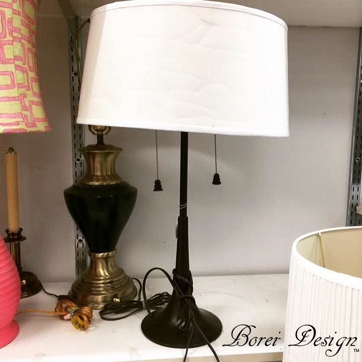 Thrift Store Lamp Makeover Built In Permanent Shade Upcycle How To Diy Tutorial