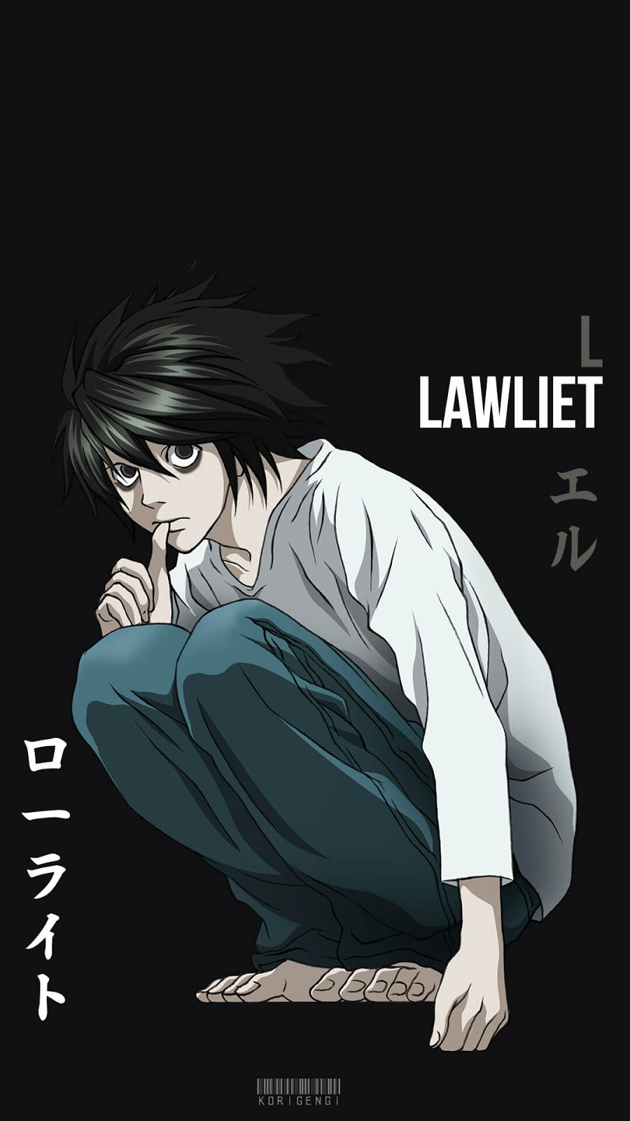 L Lawliet Death Note Wallpaper Korigengi Anime