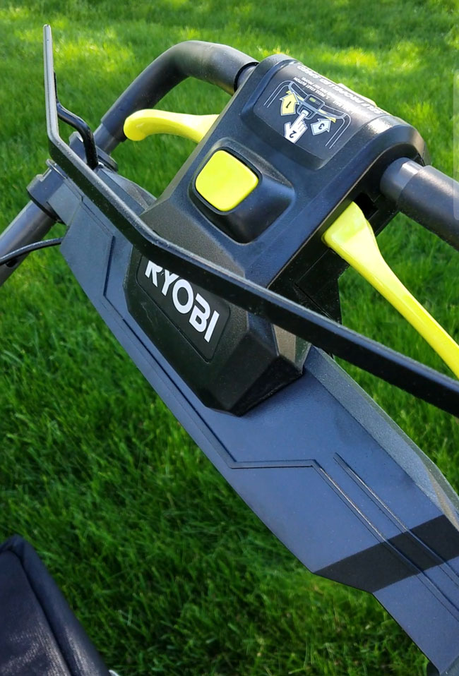 Ryobi mower one push-button.