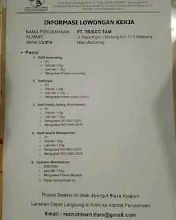 Lowongan Kerja PT Trisco Bandung Terupdate 2019