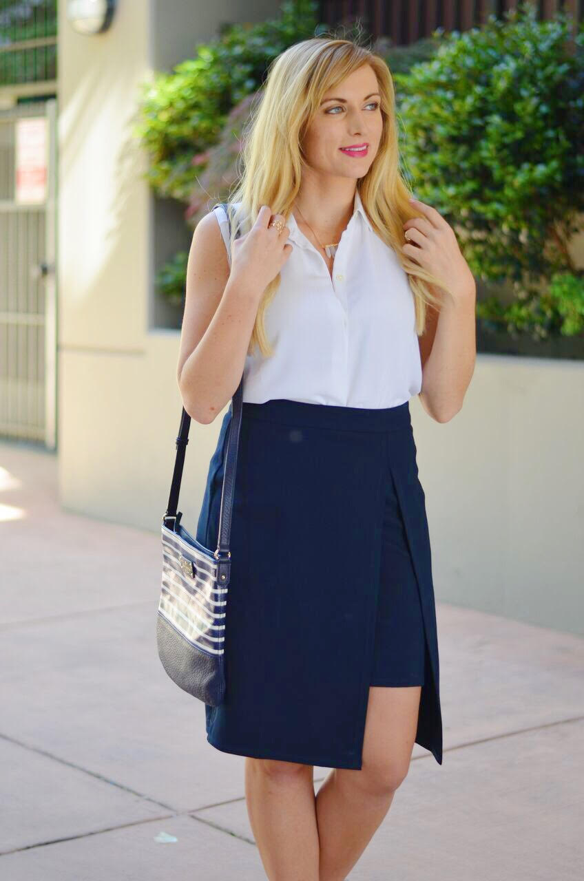 how to style a navy pencil skirt for work