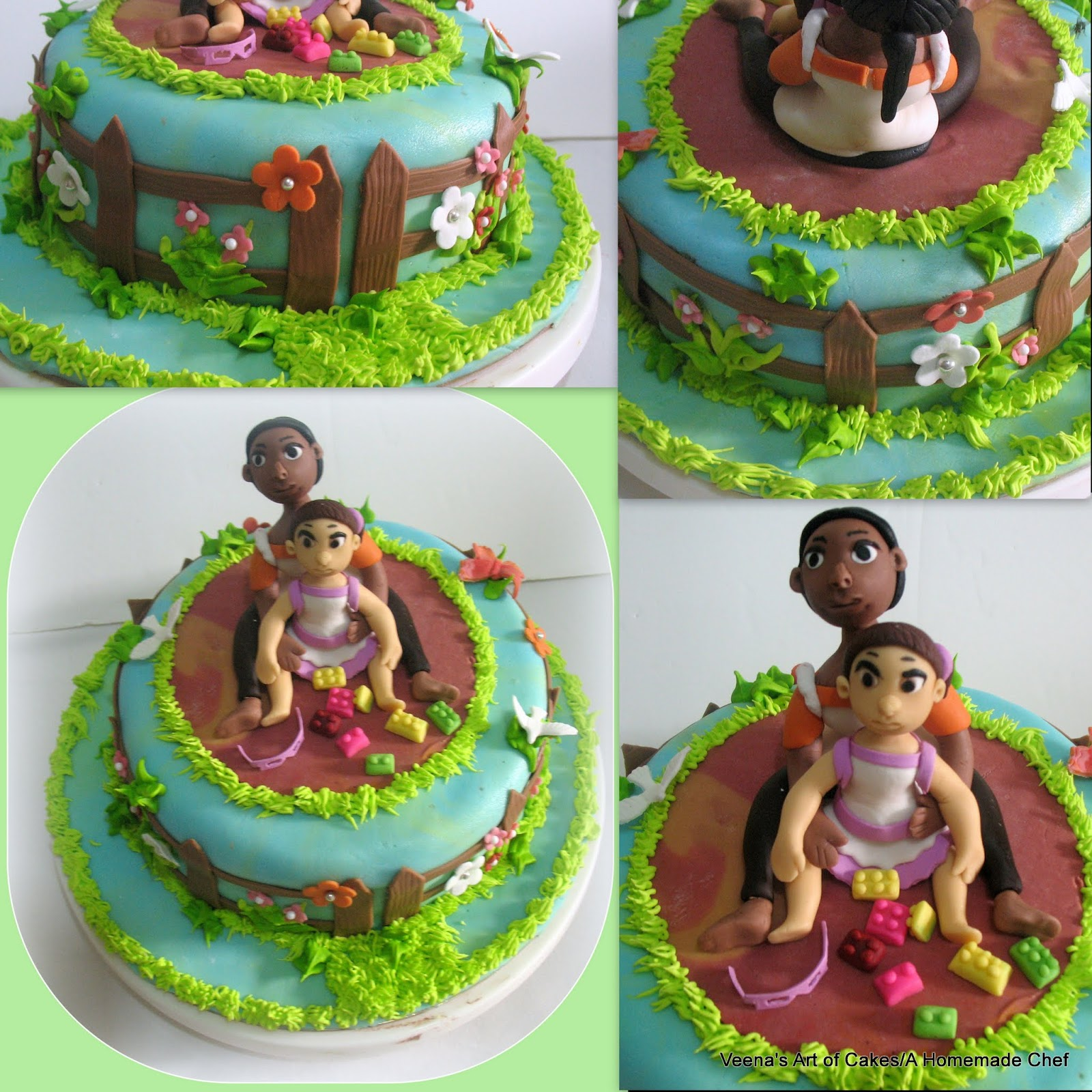A Garden Theme Birthday Cake