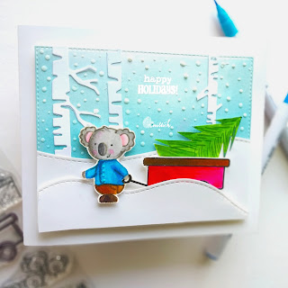 guest designing Ishani, make a summer themed stamp. a winter themed, cards by Ishani, Create a smile stamp - cart full of treasure, Christmas card, Zig clean colour brush pens, Quillish, Cards by Ishani, no line colouring with zig markers