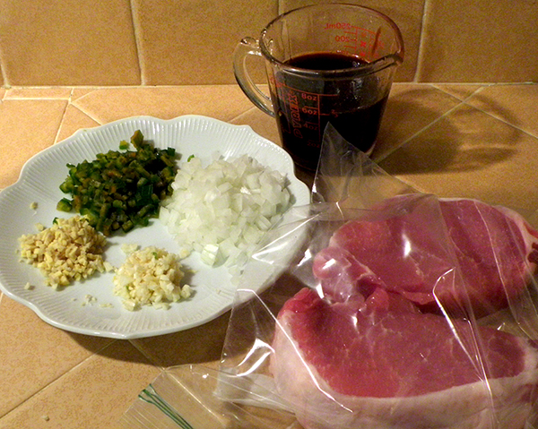 Pork in Ziplock, Chopped Savories, and Liquid marinade ingredients