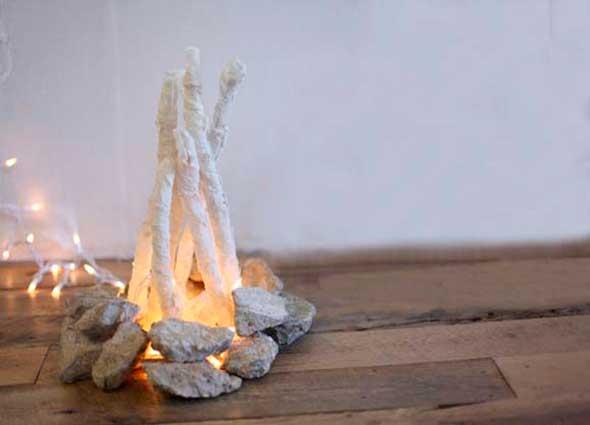 hoguera, artificial, hoguera india, manualidades, diys, decoración